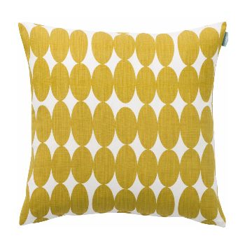 Vilma mustard cushion features gorgeous yellow ovals, warm in colour and strong in design.