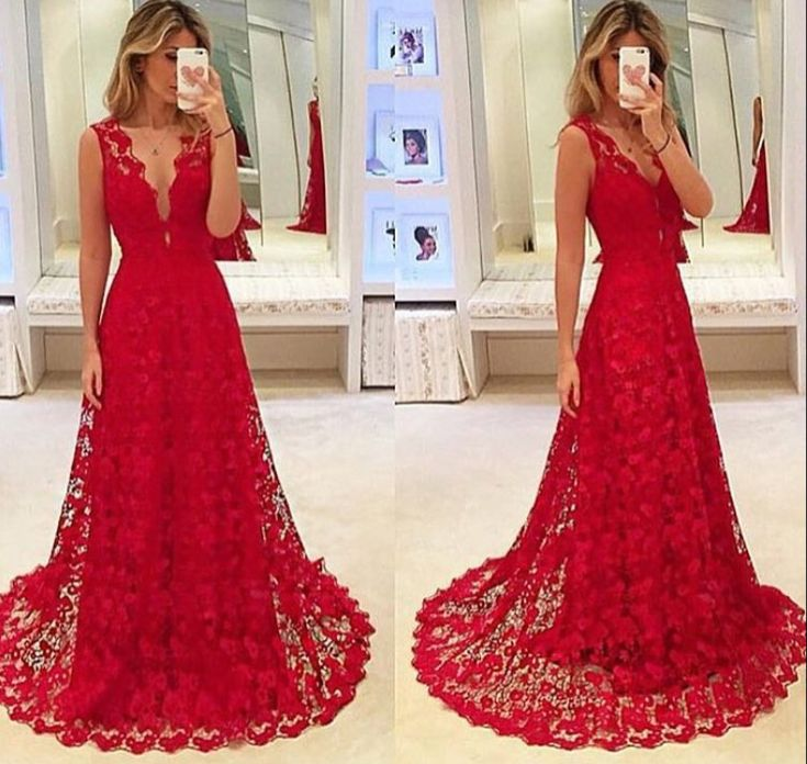 Elegant Red Lace Deep V Neck A Line Formal Prom Gown With Small Sweep Train