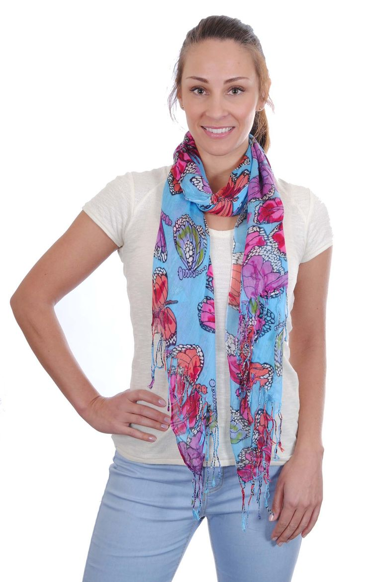 Butterfly-Set of 6-3 ass colours-Scarf, rectangular light-weight woven with a brightly coloured butterfly print & tassels-160 x 60-100% Viscose