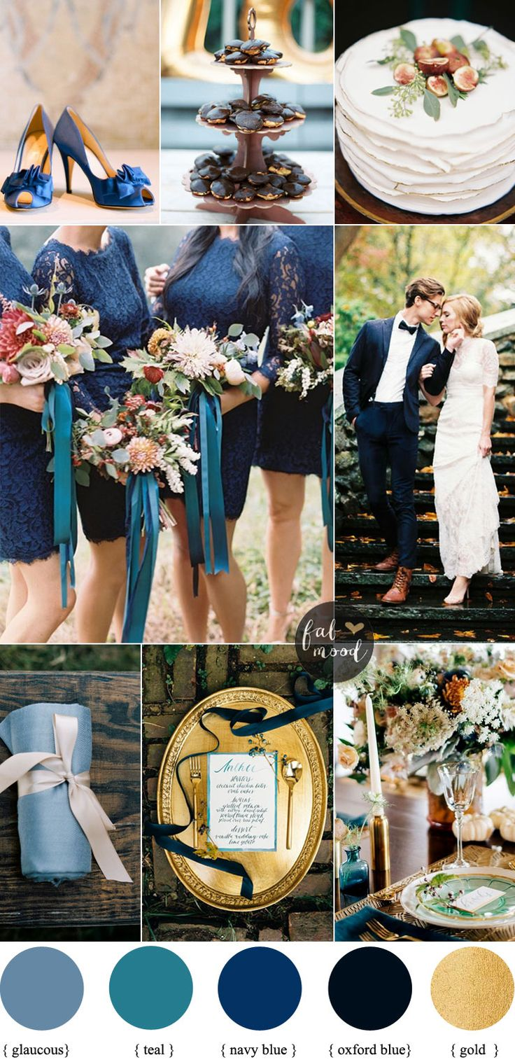 Autumn wedding colors with blue and teal color palette | Read more #fallwedding on Fab Mood - fabmood.com