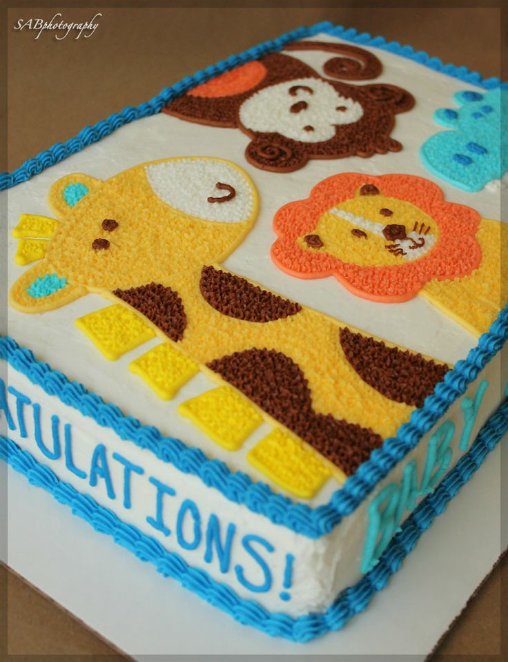 blue ombre animal cake baby shower