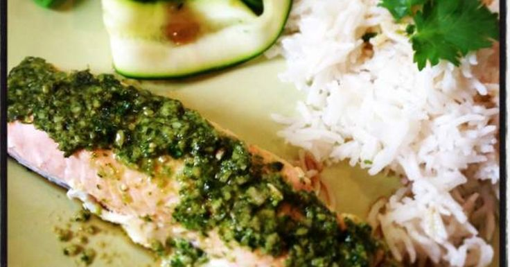 Asian style salmon with Coriander Cashew Pesto