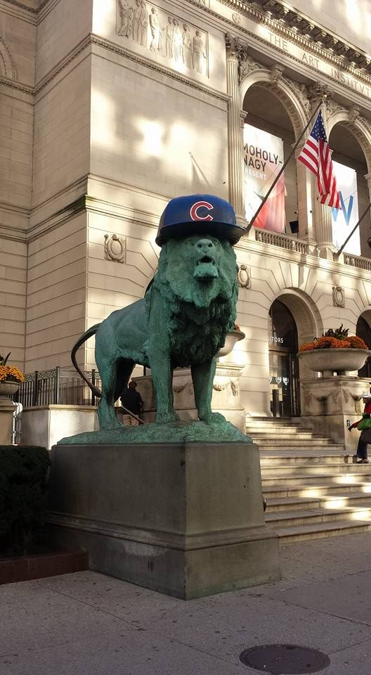 At the Art Institute of Chicago, the lions wear Chicago Cubs baseball hats! Stay tuned this week for special deals in honor of the Cubs playing the World Series. #FlytheW #GoCubsGo #CubbiesWin #CubsLove