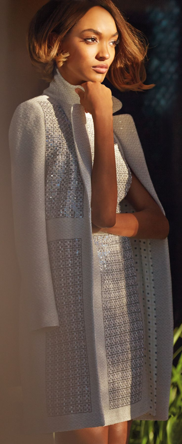 StJohnKnits couture cream topper w/ sequin detail & patterned lining, with matching shift dress. PreFall 2015 Collection.