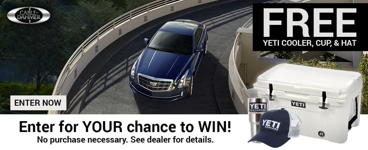 Win a Yeti cooler, cup and hat from Cable Dahmer Buick GMC Cadillac!  Shop Cable Dahmer today and save up to $14,000 on select Loanerville vehicles! Get $1000 over KBB when you trade for a loaner!