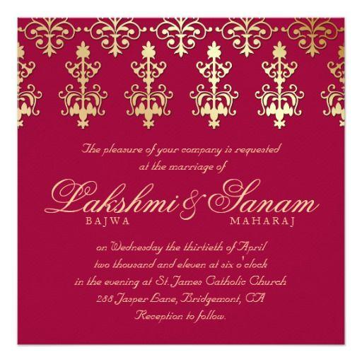 Indian Wedding Invite Damask Gold Autumn Wine