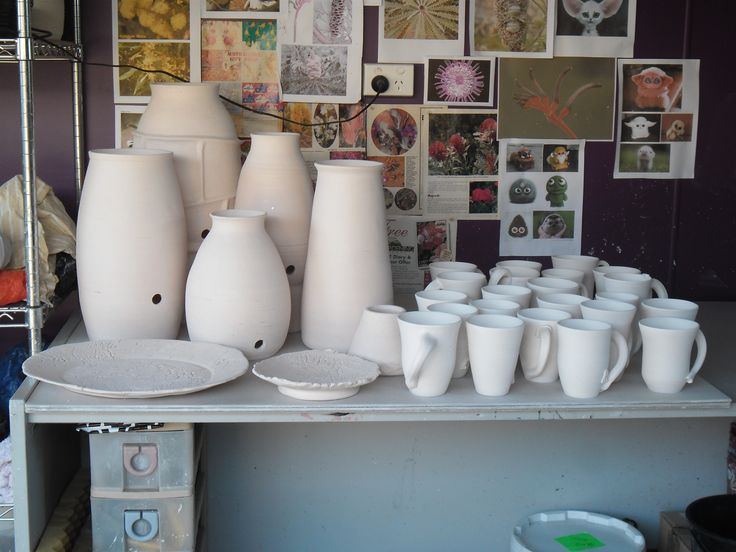 Works in progress: Bisque fired works, ready for glazing