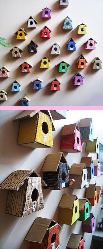 little birdhouses made from cardboard advent calendar