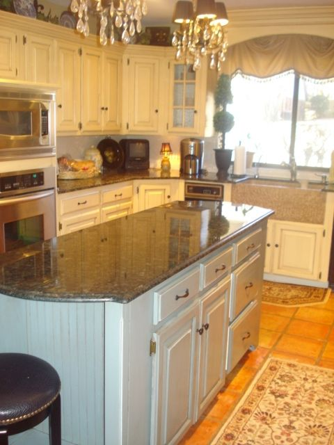 Yellow Top Cabinets, White Bottom, And Blue Island. Great Country Kitchen!