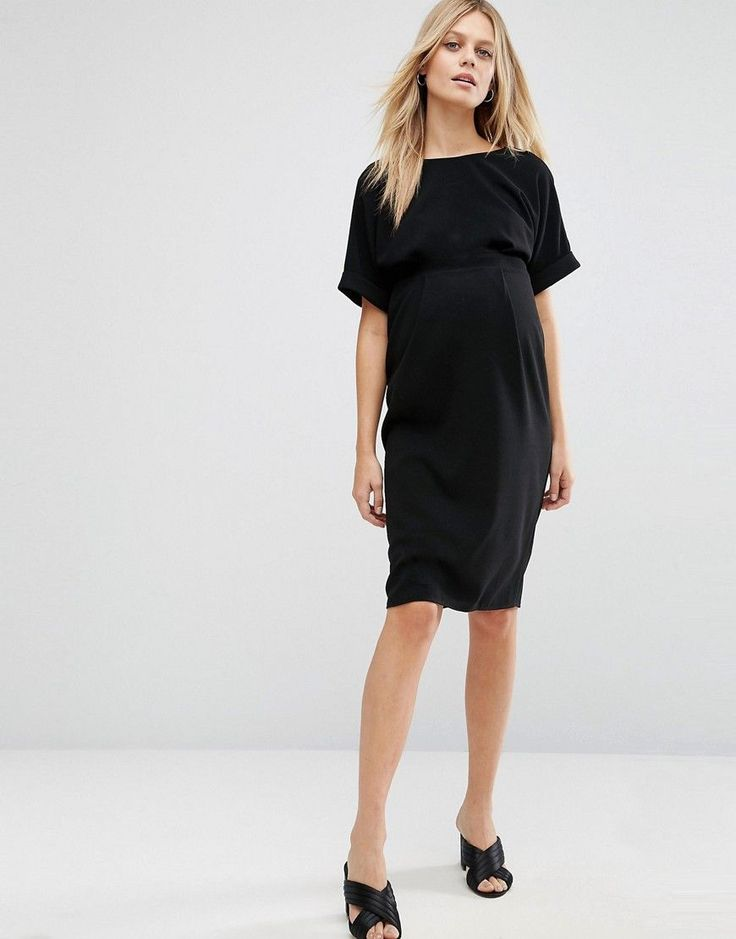 ASOS Maternity Smart Woven Dress With V Back - Black