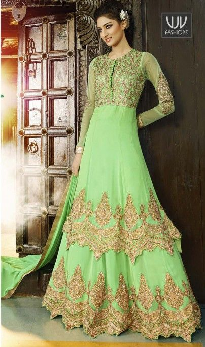 Buy Now @ http://goo.gl/4JlPzy Awesome Green Georgette Anarkali Salware Suit Awesome green georgette anarkali suit with embroidery, resham, zari, lace and patch border work. As shown an santoon bottom and nazneen chiffon dupatta comes with this. Product No VJV-LEO7105 @ www.vjvfashions.com #dress #dresses #bollywoodfashion #celebrity #fashions #fashion #indianwedding #wedding #salwarsuit #salwarkameez #indian #ethnics #clothes #clothing #india #bride #beautiful #shopping #onlineshop #tr