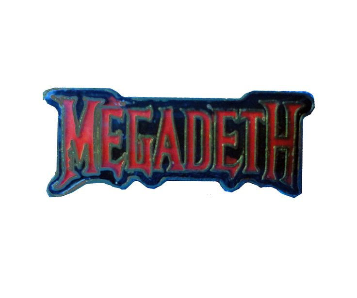 vintage MEGADETH logo heavy metal enamel jacket pin 1980s peace sells metallica