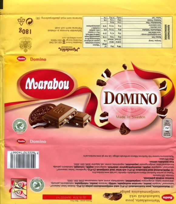 Marabou, Domino, milk chocolate with cocoa biscuit and vanilla flavoured pieces, 180g, 05.05.2013, Kraft Foods Sverige, Sweden