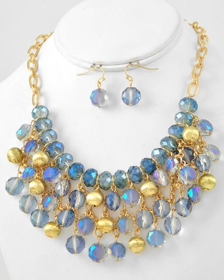 Gold Tone / Blue Glass Crystal & Gold Ccb (bead) / Lead Compliant / Charm Necklace & Fish Hook Earring Set