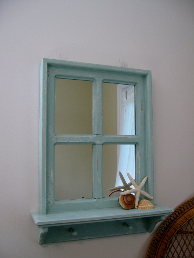 "Shabby Chic Hand Crafted Mirror, 20"" x 26"" with a 4"" shelf and 2 wood pegs.                $64.99"