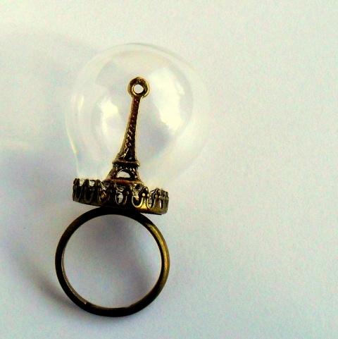 Buborék Párizsból - Eiffel üveggömb gyűrű , Ékszer, óra, Gyűrű, #Meska