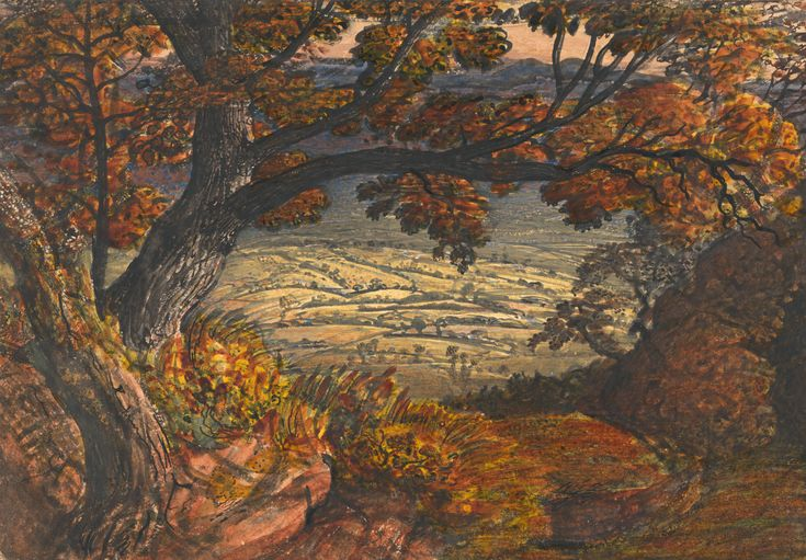 Samuel Palmer, 1805-1881, British, active in Italy (1837-1839), The Weald of Kent, between 1833 and 1834, Watercolor and gouache on moderate...