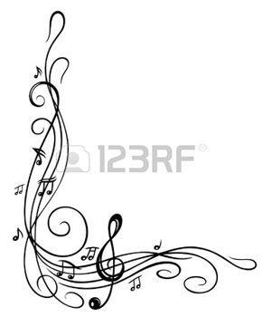fogli: Clef con spartiti e note musicali, di frontiera