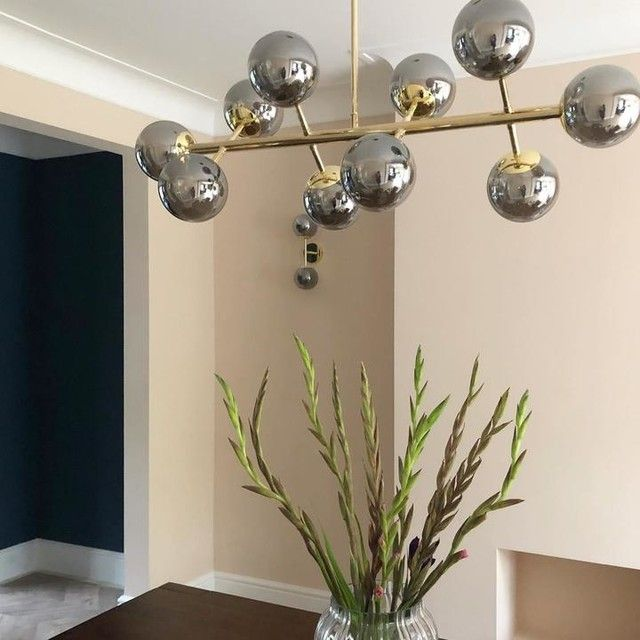 Globe Pendant Chandelier Wide, Brass and Smoked Glass