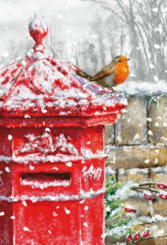Post box Christmas Robin