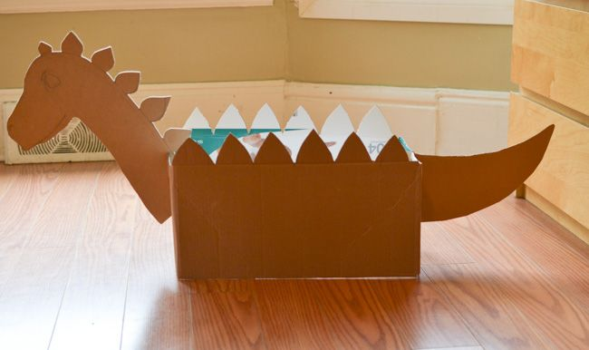 It certainly looked like we had a project cut out for the afternoon – a cardboard box dinosaur. Description from adventure-in-a-box.com. I searched for this on bing.com/images