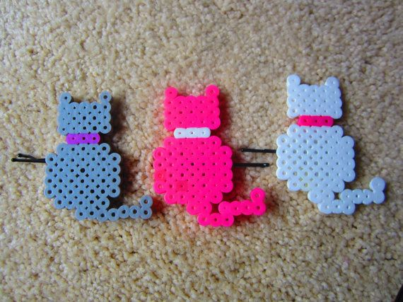 Perler Beads Hair Clips by BlanchesNook on Etsy, $5.00