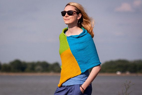 Hand Knitted Summer Poncho in Blue Green Mustard by RUKAMIshop