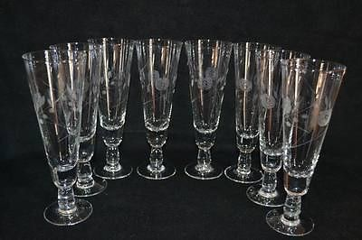 8 Vintage Tall Flower Etched Footed Pilsner Beer Glass/Wine/Mixed Drinks