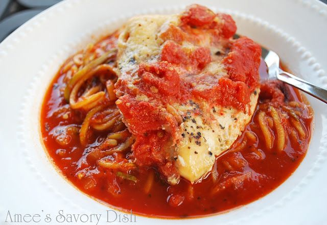 Check out this Simple Crockpot Italian Chicken shared on our site from Amee and her blog, Amee's Savory Dish. #skinnyms, #CrockpotChicken, #ChickenParmesan
