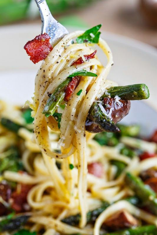 Roasted Asparagus and Mushroom Carbonara ~ with bacon and parmigiano reggiano cheese | @andwhatelse