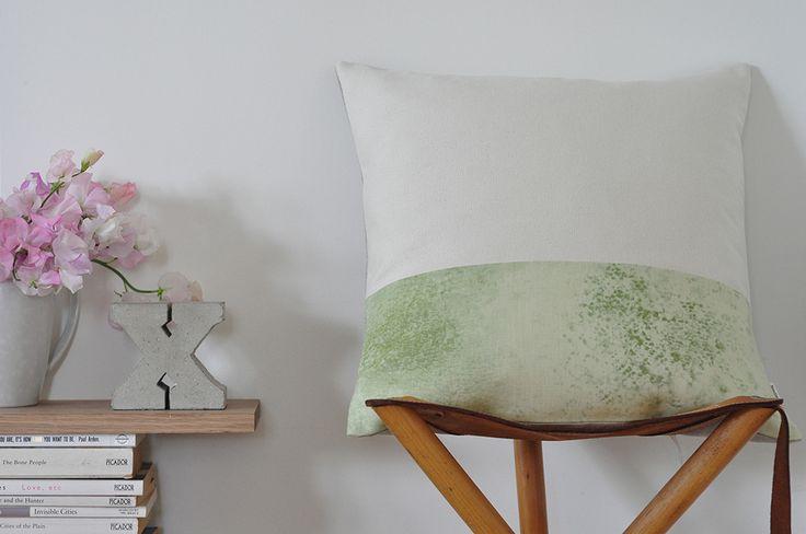 Green Colour Block Cushion Cover http://felt.co.nz/listing/175778/Green-Colour-Block-Cushion-Cover---100-Silk-Canvas--and--Linen