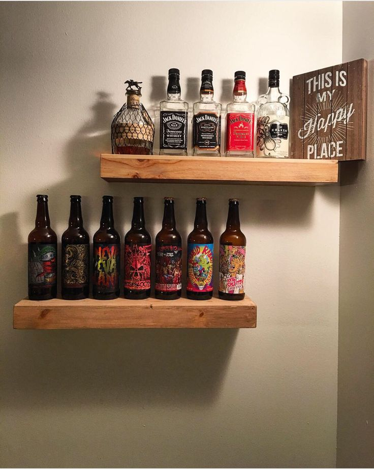 Wooden Shelves For Our Liquor Bottles And Beer Display