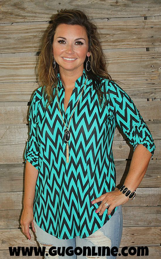 Try and Catch Me Chevron Top in Jade www.gugonline.com $39.95