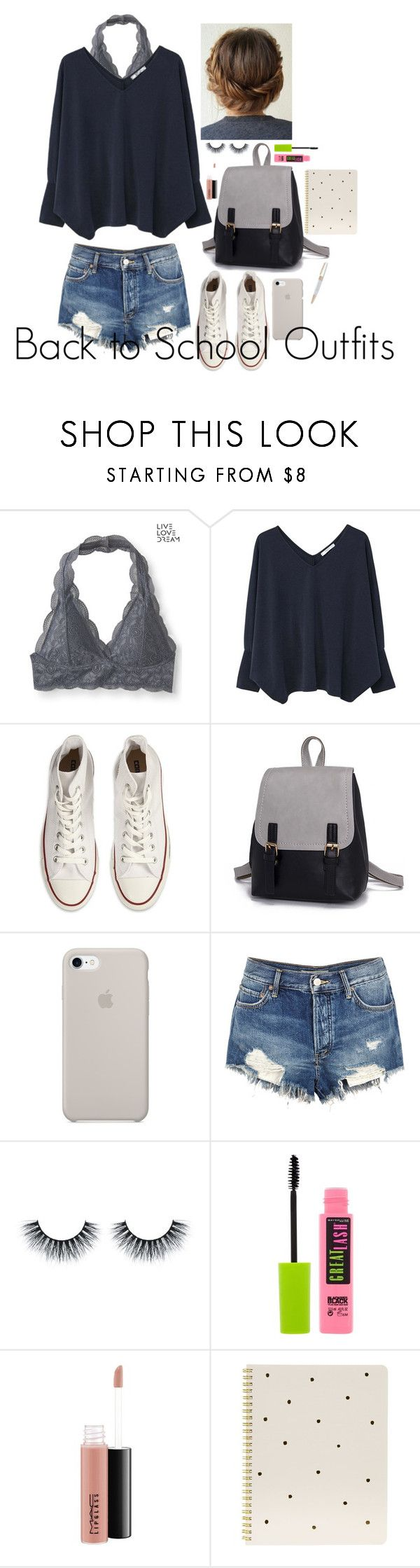 """""""Back to School Outfits #13"""" by gussied-up on Polyvore featuring Aéropostale, MANGO, Converse, Free People, Maybelline, MAC Cosmetics, Sugar Paper and Swarovski"""