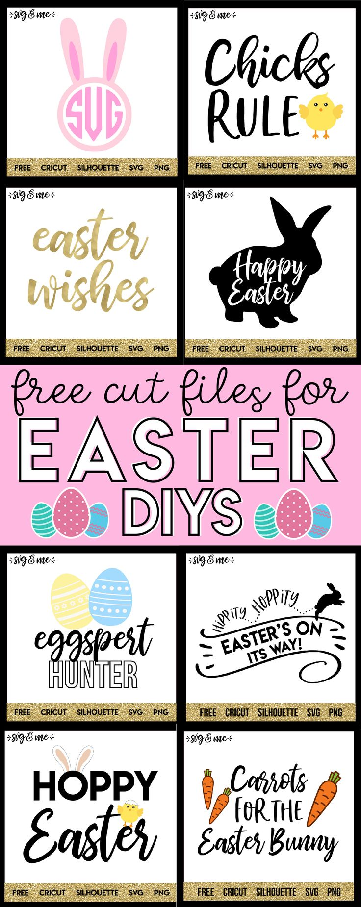 YAY! Free SVG cut files to make DIY Easter decor projects - so much easier! I can make these with my Cricut (or if you have a Silhouette) in seriously minutes!! Could also make them into practically instant free printables. #easter #cricut #silhouette