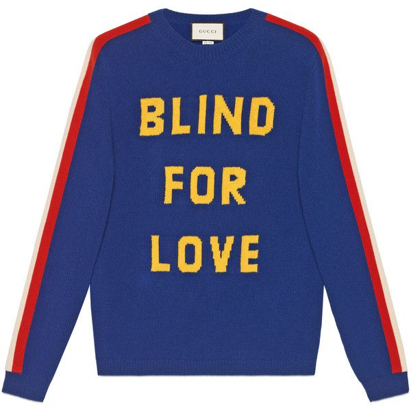 """Gucci """"""""Blind For Love"""""""" And Tiger Wool Sweater featuring polyvore, men's fashion, men's clothing, men's sweaters, men, new knitwear, ready-to-wear, mens short sleeve sweater, mens woolen sweaters, mens sweaters, mens wool sweaters and gucci mens sweater"""