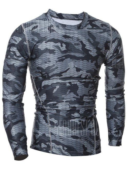 168bd12fc12bad Quick Dry Round Neck Gym Camo T-Shirt in 2019