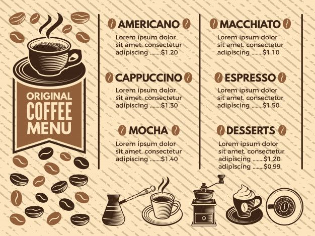 Invitation In Cafe Menu Of Coffee House Pictures In Vector Style Coffee House Cafe Menu Mocha Desserts