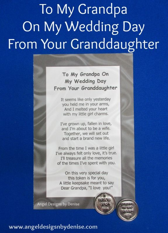 To My Grandpa From Your Granddaughter On My Wedding Day