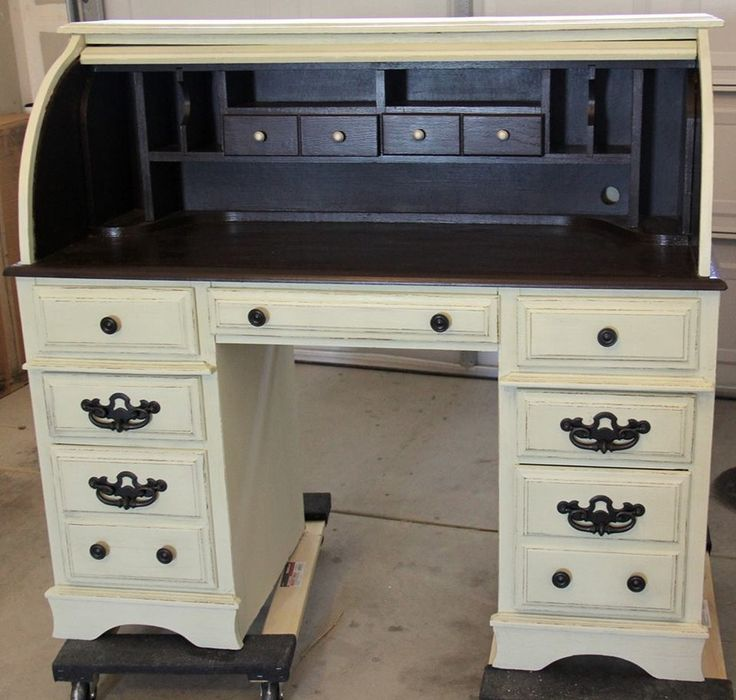 Two Tone Roll Top Desk Atreasureredefined