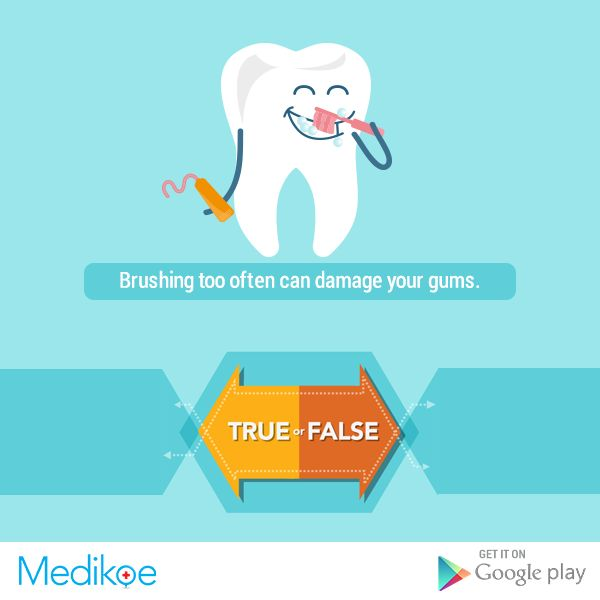 #HealthyFacts #True or #False Brushing too often can damage your gums. #Health #OralCare #HealthyLiving #Medikoe