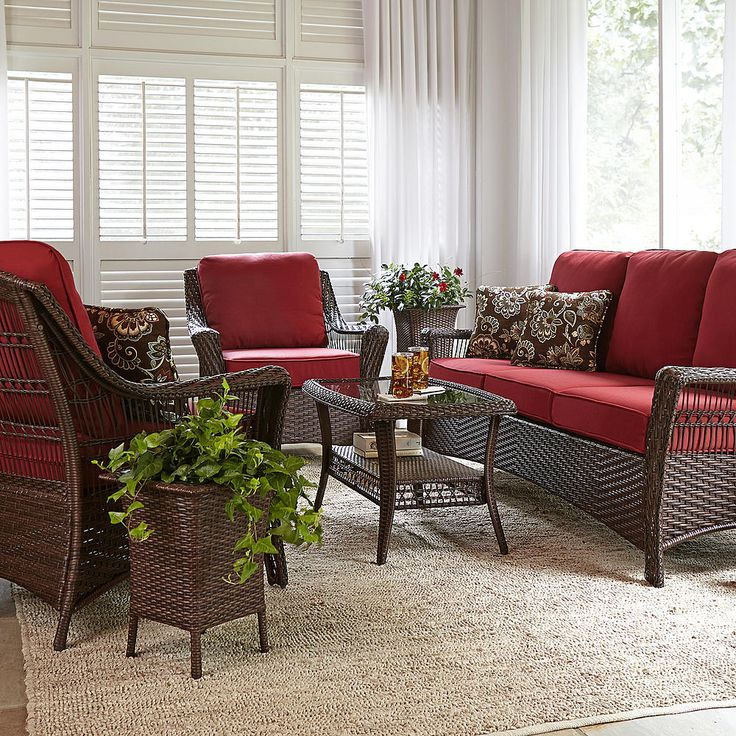 La-Z-Boy Scarlett 4 Piece Seating Set- Red - Outdoor ... on Porch & Patio Casual Living id=63630