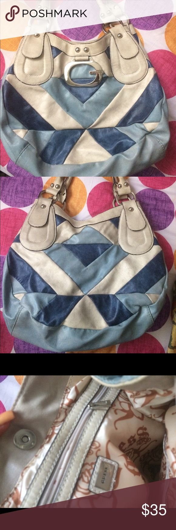 Guess bag Blue and white guess bag. Good condition Guess Bags