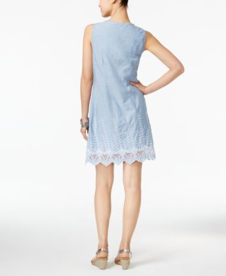 Style & Co Petite Cotton Eyelet-Hem Fit & Flare Dress, Only at Macy's - White P/XL