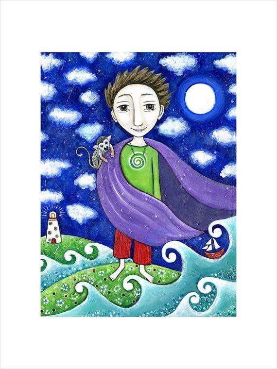 Boys Wall  Art A3 Print Weather Boy folk painting kids wall decor Boy with Monkey art nursery whimsical kids room art