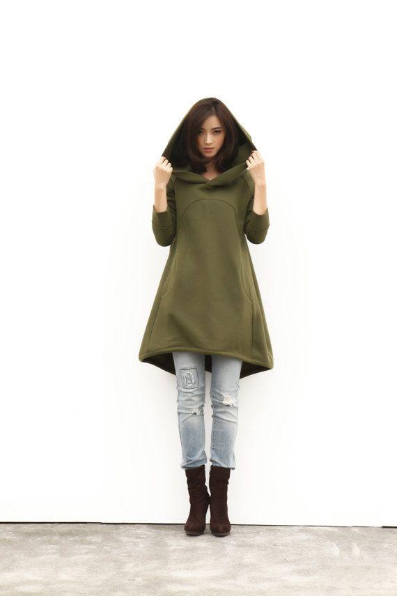 Army Green Hoodie Sweatshirt Cotton Fleece Hoodie Dress Top with Big Hood for Autumn and Spring - Custom made - NC449 on Etsy, $89.99