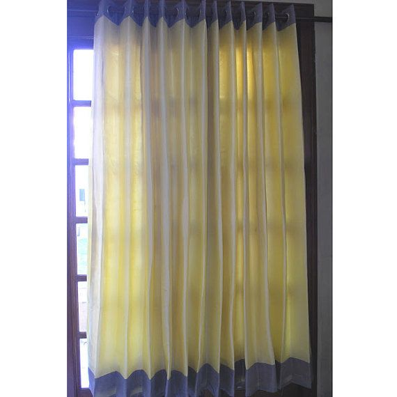 Yellow And Grey Curtain Panels 52 X84 Grommet Drapes Home And Living
