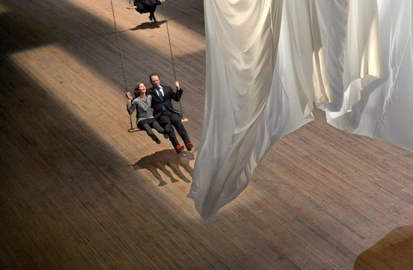 Ann Hamilton swings at the Armory