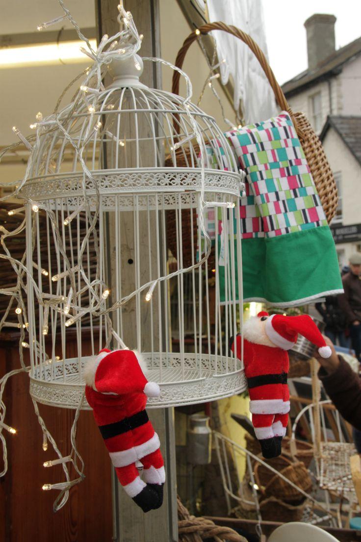 Vintage Fayre.  Hold on Santa at Hay Does Vintage, Hay-on-Wye