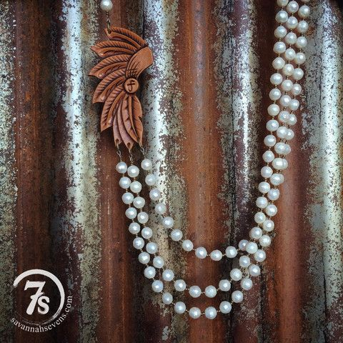 Catori Necklace – pearl and tooled leather headdress necklace from Savannah Sevens Western Chic